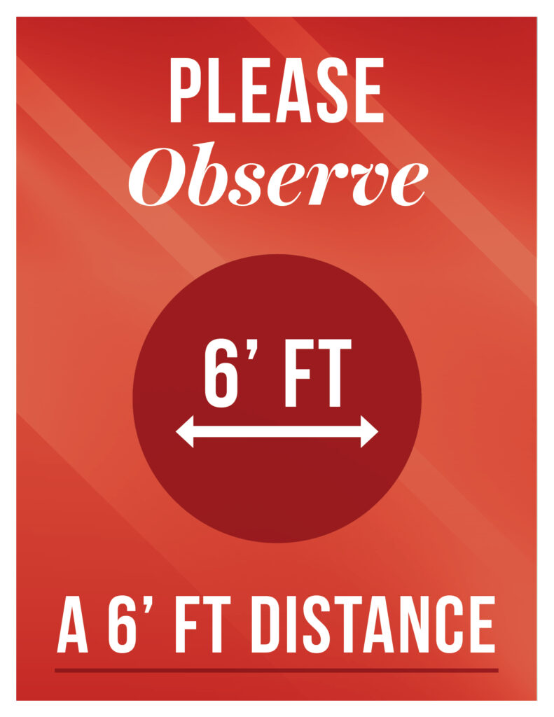 General – Social Distancing Maintain 6 feet – Print 8.5×11