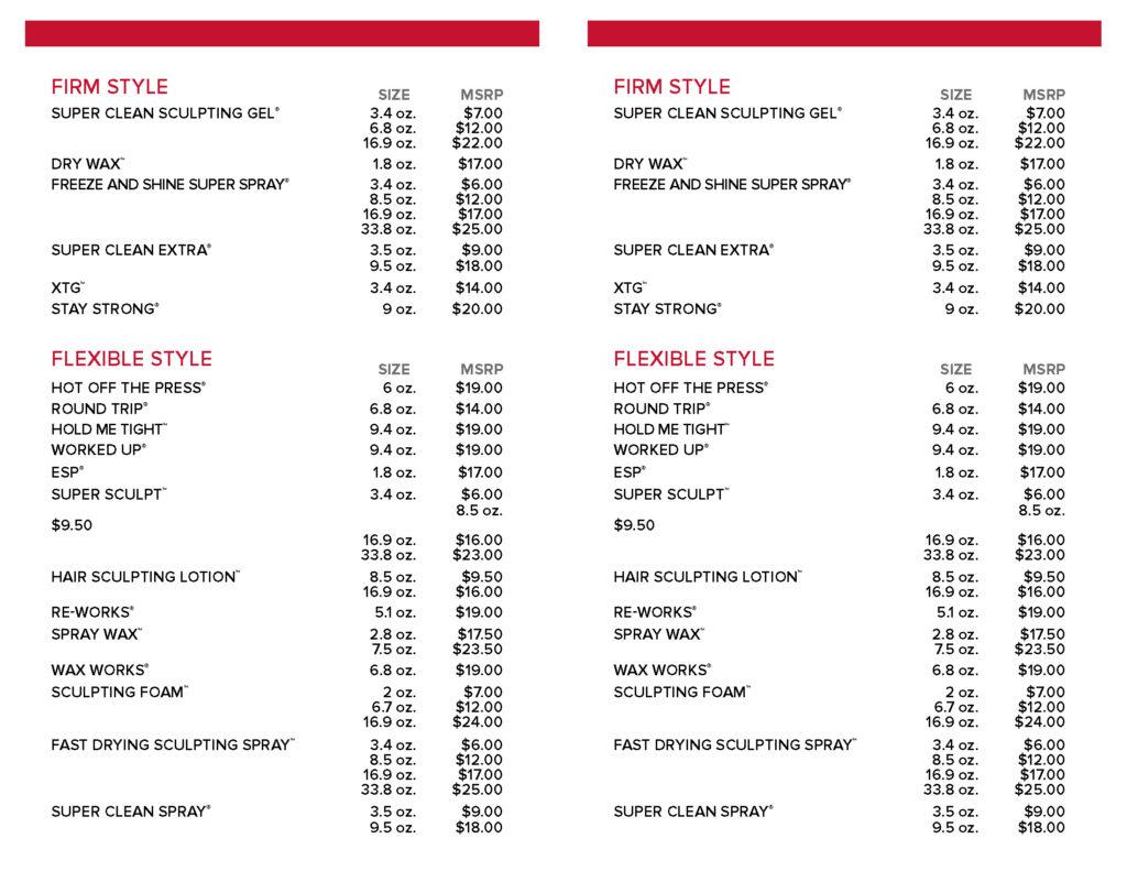 Paul Mitchell Original Style – Retail Price List